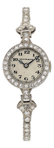Estate Jewelry:Watches, Wittnauer Lady's Diamond, Platinum Watch. ...