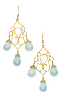Estate Jewelry:Earrings, Aquamarine, Gold Earrings, Patricia Makena. ... (Total: 2 Items)