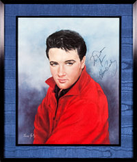 """Elvis Presley Autographed June Kelly Print (RCA, c. Late 1960s). Poster (16"""" X 20""""), Framed (20.5"""" x 25&q..."""
