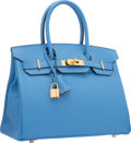 "Luxury Accessories:Bags, Hermes 30cm Blue Paradis Epsom Leather Birkin Bag with GoldHardware. R Square, 2014. Pristine Condition. 12"" Width x 8""H..."