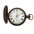 Timepieces:Pocket (pre 1900) , Unusual Sterling Verge Fusee Hunter's Case Pocket Watch. ...