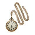 Timepieces:Pocket (post 1900), Hamilton 17 Jewel 912 Open Face Gold Filled Pocket Watch With 14k Gold Chain. ...