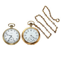 Two Illinois 17 Jewel Open Face Pocket Watches Runners, One Is 14k Gold