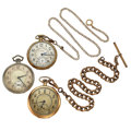 Timepieces:Pocket (post 1900), Waltham 14k Watch & Chain, Hamilton 14k Watch & Gold FilledSouth Bend. ... (Total: 3 Items)