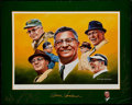 Autographs:Bats, Green Bay Packers Legends Multi Signed Print....