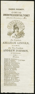 Miscellaneous:Other, Lincoln-Johnson Darke County, Ohio Union Presidential TicketHandbill 1864.. ...