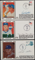 Baseball Collectibles:Others, Alston, Snider and Drysdale Signed First Day Covers (3)....
