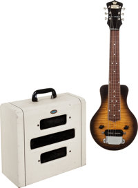 1940 Recording King Roy Smeck AB104 Sunburst Lap Steel Guitar and 1954 Supro White Guitar Amplifier. Serial # FWE724 and...