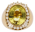 Estate Jewelry:Rings, Gentleman's Golden Beryl, Diamond, Gold Ring. ...