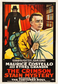 "The Crimson Stain Mystery (Consolidated, 1916). One Sheet (28"" X 41"") Episode 11 -- ""The Tortured Soul.&q..."