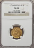 Colombia, Colombia: Republic gold 2-1/2 Pesos 1913 MS65 NGC,...