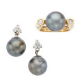 Estate Jewelry:Lots, South Sea Cultured Pearl, Diamond, Gold, White Gold Jewelry. ...(Total: 3 Items)