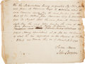 Autographs:Statesmen, John Brown Document Signed. ...