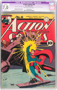 Action Comics #48 (DC, 1942) CGC Apparent FN/VF 7.0 Off-white to white pages