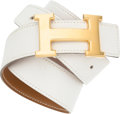 Luxury Accessories:Accessories, Hermes 68cm White Evergrain & Gold Courchevel LeatherReversible H Belt with Gold Hardware. U Circle, 1991.Very Good ...