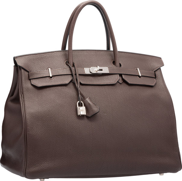 1ed9de6140 Hermes 40cm Chocolate Togo Leather Birkin Bag with