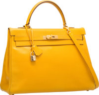 Hermes 35cm Jaune Courchevel Leather Retourne Kelly Bag with Gold Hardware V Circle, 1992 Good to