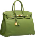 "Luxury Accessories:Bags, Hermes 35cm Pelouse Swift Leather Birkin Bag with Gold Hardware.M Square, 2009. Very Good Condition. 14"" Width x..."
