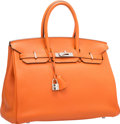 Luxury Accessories:Bags, Hermes 35cm Orange H Togo Leather Birkin Bag with Palladium Hardware. N Square, 2010. Very Good to Excellent Condition...