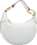 "Luxury Accessories:Bags, Gucci White Ostrich & Gold Bamboo Hobo Bag. Very Good toExcellent Condition. 15"" Width x 8"" Height x 3"" Depth...."