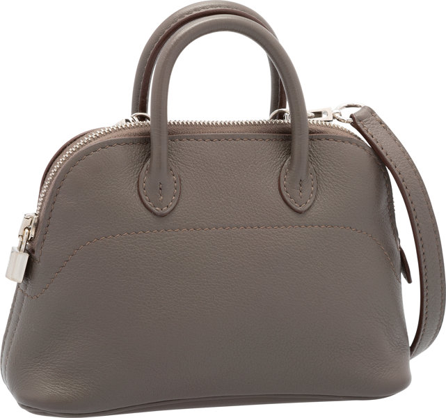 Hermes Etain Swift Leather Micro Mini Bolide Bag with  c5bbb83913b2a