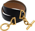 """Luxury Accessories:Accessories, Hermes 65cm Black Calf Box Leather Cargo Belt with Gold Hardware.Y Circle, 1995. Very Good Condition. 1"""" Width x..."""
