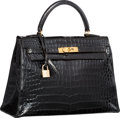 "Luxury Accessories:Bags, Hermes 32cm Shiny Black Crocodile Sellier Kelly Bag with GoldHardware. Good Condition. 12.5"" Width x 9"" Height x 4""D..."