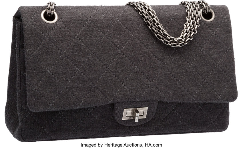 Chanel Gray Quilted Jersey Reissue Double Flap Bag with  82bf50b45460b