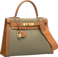 Hermes 28cm Gold Courchevel Leather & Vert Olive Canvas Sellier Kelly Bag with Gold Hardware L Circle, 1982