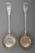 Silver Flatware, American:Wood & Hughes, A Pair of Wood & Hughes Medallion Pattern Partial GiltSilver Jelly Spoons, New York, New York, circa 1970. Mark...(Total: 2 )
