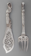Silver Flatware, Continental:Flatware, A Johan Clementz Danish Silver Fish Serving Set, late 19th century.Marks: (three towers), SG, CLEMENT. 11-1/4 inches lo...(Total: 2 )