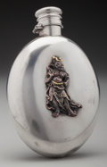 Silver Holloware, American:Flasks, A Gorham Silver and Mixed Metals Ovoid Flask with Applied JapaneseOni, Providence, Rhode Island, circa 1879. Marks: (lion-a...