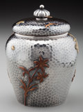 Silver Holloware, American:Tea Caddies, A Dominick & Haff Silver and Mixed Metals Tea Caddy, New York,New York, circa 1880. Marks: D&H, 1880 (withinrectangle-...