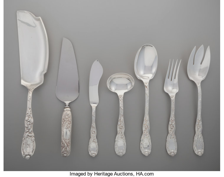 Silver Flatware American Tiffany A Group Of Seven Co