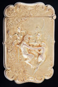 Silver Smalls:Match Safes, An American 14K Gold Match Safe, circa 1900. Marks: 14K.2-1/2 inches high (6.4 cm). 1.18 troy ounces. FROM THE ESTATE...