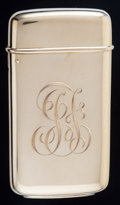 Silver Smalls:Match Safes, A Tiffany & Co. 18K Gold Match Safe, New York, New York, circa1900. Marks: TIFFANY & CO., 18KT. SOLID GOLD. 2-1/4inche...