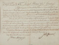 Autographs:Statesmen, John Hancock Military Appointment Signed as Governor....