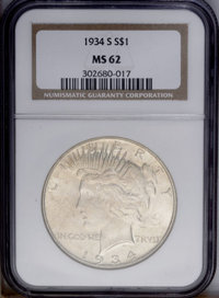 1934-S $1 MS62 NGC. Evenly shimmering luster with some soft reddish-golden coloration. Scattered small marks dot the sur...