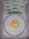 Commemorative Gold: , 1903 G$1 Louisiana Purchase/McKinley MS64 PCGS. A lustrousorange-gold near-Gem whose only blemish is a tiny spot at 10 o'c...