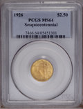 Commemorative Gold: , 1926 $2 1/2 Sesquicentennial MS64 PCGS. Lustrous with a sharpstrike and especially pleasing surfaces overall. An attractiv...