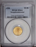 Commemorative Gold: , 1926 $2 1/2 Sesquicentennial MS64 PCGS. Shades of peach andorange-gold and lime-green bathe highly lustrous surfaces that ...