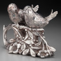 Silver Holloware, American:Open Salts, An American Silver-Plated Figural Salt & Pepper Set, circa1880. Marks: (effaced mark), (star), 121, PAT. APPL'D FOR.3...