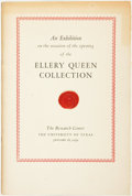 Books:Reference & Bibliography, [Ellery Queen, (pseudonym of Frederic Dannay)]. SIGNED/LIMITED.An Exhibition on the Occasion of the Opening of ...