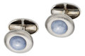 Estate Jewelry:Cufflinks, Star Sapphire, Platinum, White Gold Cuff Links. ... (Total: 2Pieces)