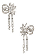 Estate Jewelry:Earrings, Diamond, Platinum Earrings. ... (Total: 2 Pieces)