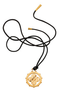 Gold Pendant, Leather Necklace, Louis Vuitton, French