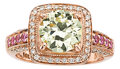 Estate Jewelry:Rings, Colored Diamond, Diamond, Sapphire, Pink Gold Ring, LeVian. ...
