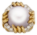 Estate Jewelry:Rings, Mabe Pearl, Diamond, Platinum, Gold Ring, David Webb. ...