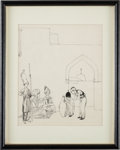 Books:Original Art, [Willy Pogány, illustrator]. Frontispiece for Chapter Eight. Original Pen and Ink Drawing from The Adventures of Haroun ...
