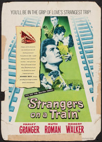 "Strangers on a Train (Warner Brothers, 1951). Trimmed Window Card (13"" X 18""). Hitchcock"